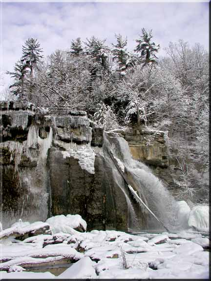 A winter view of Salmon Creek Falls at Ludlowville, NY.