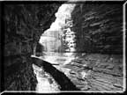 A photograph taken from under Rainbow Falls in Watkins Glen State Park.