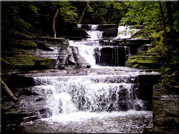 One of the many lovely waterfalls in Buttermilk Falls State Park.