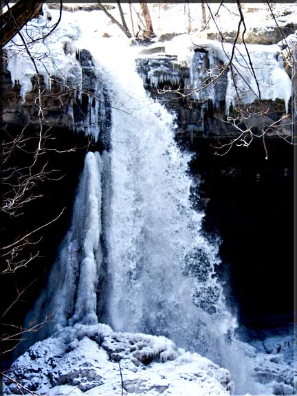 Carpenter Falls is beautiful in winter, but demands experienced winter hiking skills to approach it.