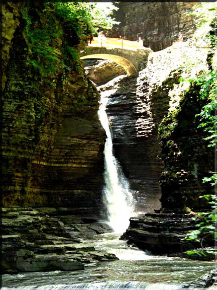 One of the many impresive waterfalls in Watkins Glen State Park