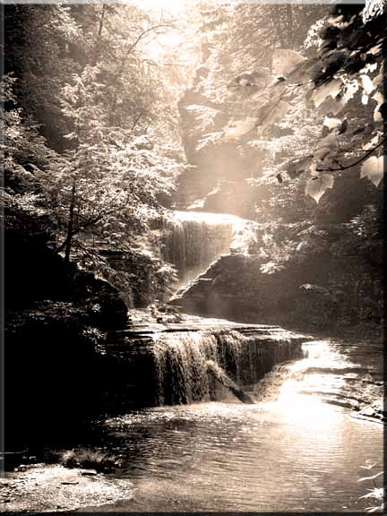 A sepis photograph of pper Buttermilk Falls Gorge.