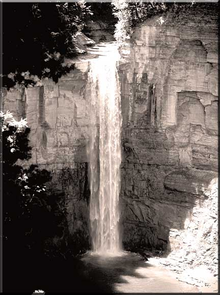 Taughannock Falls as it might have looked in a very old photograph.