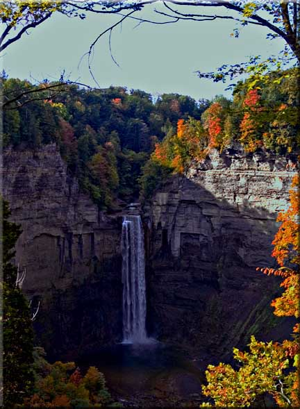 Well into autumn color above Taughannock Falls.
