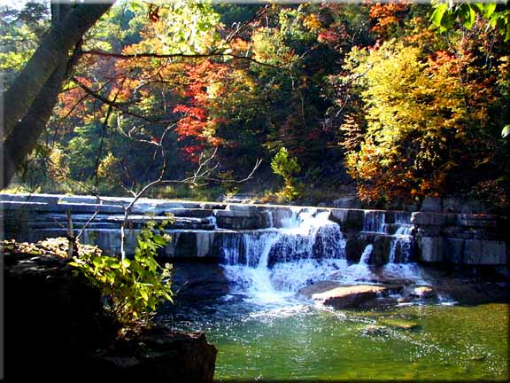 Taughannock's lower falls dressed in autumn finery.