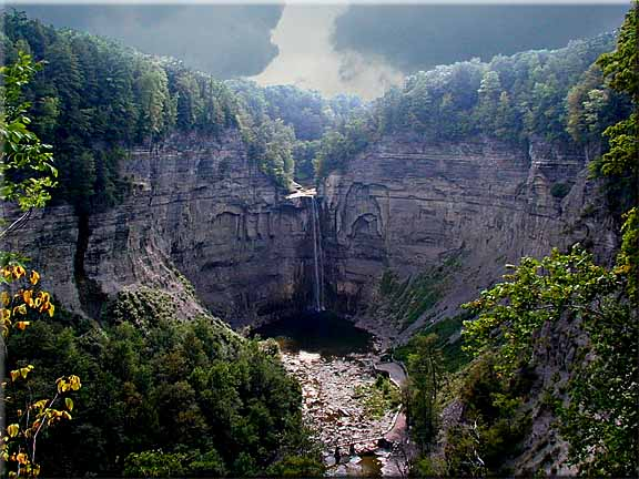 Storm clouds gathering over Taughannock Falls.