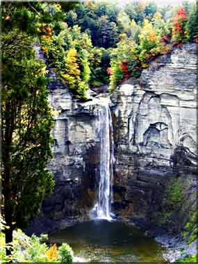 Sparks of fall color showing above Taughannock Falls.