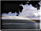 A rainbow over Cayuga Lake.