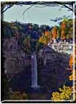 Taughannock Falls in warm autumn light.