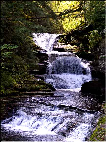 The uppermost waterfall in Robert Treman State Park.