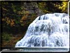 The waterfall that feeds the swimming hole at Robert Treman State Park.